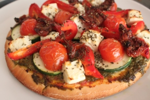 Homemade veggie GF pizza